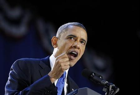 U.S. President Barack Obama gives his election night victory speech in Chicago, November 7, 2012. REUTERS/Kevin Lamarque