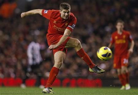 Liverpool's Steven Gerrard shoots at goal during their English Premier League soccer match against Newcastle United at Anfield in Liverpool, northern England, November 4, 2012. REUTERS/Phil Noble