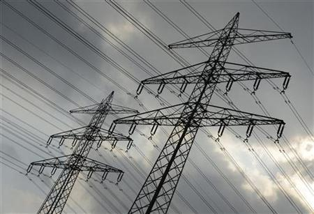Power poles and power lines are seen in Hamburg September 28, 2012. Reuters/Fabian Bimmer (GERMANY - Tags: BUSINESS ENERGY)