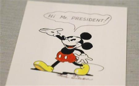 A Mickey Mouse character drawing is displayed at the D23 Presents Treasures of the Walt Disney Archives exhibit at the Ronald Reagan Presidential Library in Simi Valley, California June 28, 2012. The exhibit opens to the public July 6 and will be on display through April 2013. REUTERS/Phil McCarten (UNITED STATES - Tags: ENTERTAINMENT SOCIETY)