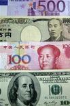 Банкноты номиналом 500 евро, 10000 иен, 100 юаней и 100 долларов США в отделении Korea Exchange Bank в Сеуле, 12 ноября 2010 года. Евро снизился до месячного минимума к иене на фоне слабых прогнозов для экономики еврозоны и неопределенности в отношении предоставления финансовой помощи Греции и Испании. REUTERS/Truth Leem