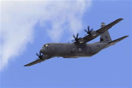 A U.S. Air Force (USAF) Lockheed Martin C-130J Super Hercules aircraft takes part in a flying display during the 49th Paris Air Show at the Le Bourget airport near Paris June 24, 2011. REUTERS/Gonzalo Fuentes