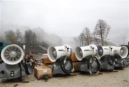 Snow guns are seen near a track in Rosa Khutor Alpine Resort at the Aibga Ridge, part of the complex of facilities to be used for the Sochi 2014 Winter Olympics, November 7, 2012. REUTERS/Pawel Kopczynski