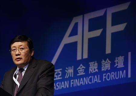 Lou Jiwei, Chairman and CEO of China Investment Corporation, addresses the Asian Financial Forum in Hong Kong January 20, 2010. REUTERS/Bobby Yip