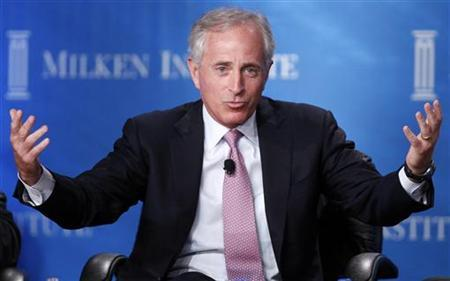 U.S. Senator Bob Corker (R-TN) takes part in a panel discussion titled ''Fixer-Upper: Repairing the U.S. Housing Market'' at the Milken Institute Global Conference in Beverly Hills, California May 1, 2012. REUTERS/Danny Moloshok/Files