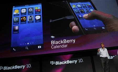 Research In Motion CEO Thorsten Heins displays features of the Blackberry 10 during his keynote address during the Blackberry Jam Americas in San Jose, California September 25, 2012. REUTERS/Robert Galbraith
