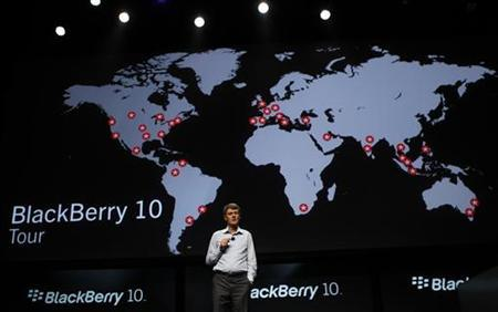 Research In Motion CEO Thorsten Heins gestures while delivering his keynote address during the Blackberry Jam Americas in San Jose, California September 25, 2012. REUTERS/Robert Galbraith/Files
