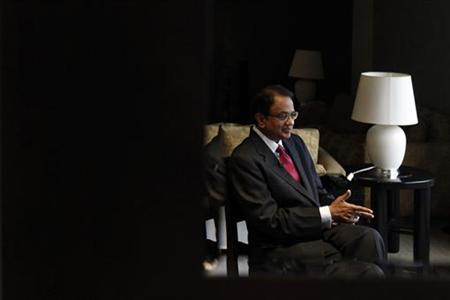 Finance Minister P. Chidambaram gestures during an interview with Reuters at a hotel during his visit for the G20 meeting in Mexico City November 4, 2012. REUTERS/Edgard Garrido