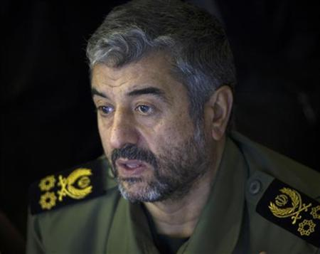 Iran's Revolutionary Guards commander Mohammad Ali Jafari looks on while attending Friday prayers in Tehran February 10, 2012. REUTERS/Morteza Nikoubazl/Files