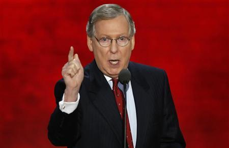 U.S. Senate Minority Leader Mitch McConnell speaks to delegates during the third session of the Republican National Convention in Tampa, Florida, August 29, 2012. REUTERS/Mike Segar