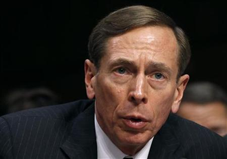 CIA Director David Petraeus speaks to members of a Senate (Select) Intelligence hearing on ''World Wide Threats'' on Capitol Hill in Washington in this January 31, 2012 file photo. President Barack Obama on November 9, 2012 accepted the resignation of CIA Director David Petraeus, praised him as as one of the most outstanding generals of his generation and expressed confidence that the intelligence agency would continue to thrive. REUTERS/Kevin Lamarque/Files (UNITED STATES - Tags: POLITICS HEADSHOT)