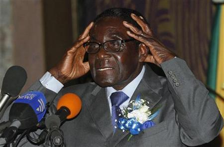 Zimbabwe's President Robert Mugabe speaks at the start of a conference of parties and civic society groups reviewing a draft constitution that, if adopted, will lead to Zimbabwe's next election, at a hotel in Harare October 22, 2012. REUTERS/Philimon Bulawayo