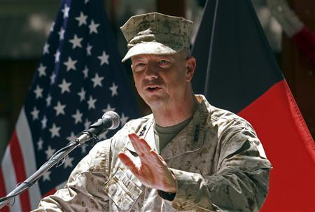 U.S. General John Allen, commander of the North Atlantic Treaty Organization (NATO) forces in Afghanistan, speaks during U.S. Independence Day celebrations in Kabul, in this file picture taken July 4, 2012. REUTERS/Mohammad Ismail/Files
