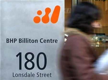 A pedestrian walks past the head offices of BHP Billiton in central Melbourne October 16, 2008. REUTERS/Mick Tsikas