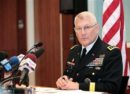 General Carter F. Ham, commander of the U.S. military's Africa Command, attends a news conference at the U.S. Embassy in Algiers June 1, 2011. REUTERS/Ramzi Boudina