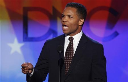U.S. Rep. Jesse Jackson Jr. (D-IL) speaks at the 2008 Democratic National Convention in Denver, Colorado, August 25, 2008. U.S. Senator Barack Obama (D-IL) is expected to accept the Democratic presidential nomination at the convention on August 28. REUTERS/Mike Segar