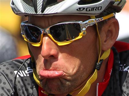 Seven-time Tour de France winner Team Radioshack rider Lance Armstrong waits at the starting line in Visalia, California of stage five of the Amgen Tour of California in a May 20, 2010 file photo. REUTERS/Anthony Bolante/files