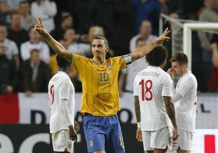Sweden's Zlatan Ibrahimovic celebrates after scoring against England during their international friendly soccer match at the Friends Arena in Stockholm November 14, 2012. REUTERS/Phil Noble