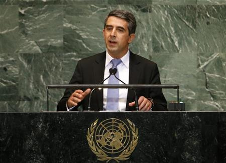 Rosen Plevneliev, President of the Republic of Bulgaria addresses the 67th United Nations General Assembly at U.N. headquarters in New York, September 25, 2012. REUTERS/Mike Segar
