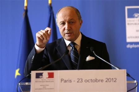 French Foreign Minister Laurent Fabius gives an update on his Ministry during a news conference at the Quai d'Orsay in Paris October 23, 2012. REUTERS/Philippe Wojazer