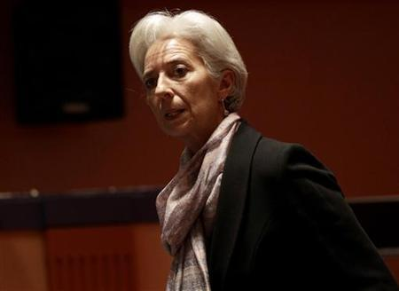 International Monetary Fund (IMF) Managing Director Christine Lagarde arrives to attend a news conference on the second day of the G20 at a hotel in Mexico City November 5, 2012. REUTERS/Henry Romero