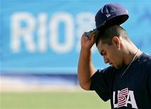 Tyson Ross of U.S. reacts during the men's baseball final against Cuba at the Pan American Games in Rio de Janeiro, July 20, 2007. REUTERS/Jim Young