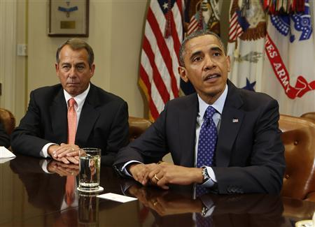 U.S. President Barack Obama hosts a bipartisan meeting with Congressional leaders in the Roosevelt Room of White House to discuss the economy, November 16, 2012. Left of President Obama is Speaker of the House John Boehner. REUTERS/Larry Downing