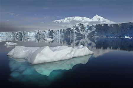The Sheldon Glacier with Mount Barre in the background, is seen from Ryder Bay near Rothera Research Station, Adelaide Island, Antarctica, in this NASA handout photo. REUTERS/British Antarctic Survey/Handout