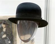 "Charlie Chaplin's signature bowler hat from numerous productions such as ""The Tramp"" is pictured at a preview of actress Debbie Reynolds' Hollywood costume and prop collection in Beverly Hills June 6, 2011. REUTERS/Fred Prouser"