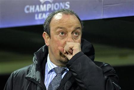 Rafael Benitez reacts at a Champions League soccer match at the Weser stadium in the northern German town of Bremen December 7, 2010. REUTERS/Morris Mac Matzen/Files