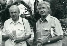 """British author Graham Greene (L) stands with journalist Bernard Diederich in Panama in 1976. Diederich has written a new book """"Seeds of Fiction, Graham Greene's Adventures in Haiti and Central America 1954-83"""", which for the first time describes in rich detail the time they spent together, providing first hand insights into the methodology and mindset of one of the 20th century's greatest authors. REUTERS/Bernard Diederich/Handout"""