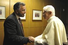 Pope Benedict XVI shakes hands with Rabbi David Rosen, International Director of Interreligious Affairs of the American Jewish Committee and the Heilbrunn Institute for International Interreligious Understanding, during the synod for the Middle East bishops at the Paul VI Hall at the Vatican October 13, 2010. REUTERS/Osservatore Romano