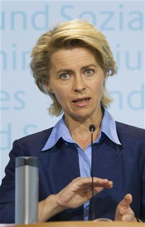 Germany's Labour Minister Ursula von der Leyen presents the latest unemployment figures during a news conference in Berlin, July 31, 2012. The number of Germans out of work rose for a fourth month running in July, though it remained close to its lowest since Germany reunified more than two decades ago. REUTERS/Thomas Peter (GERMANY - Tags: POLITICS BUSINESS EMPLOYMENT)