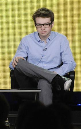 Cast member Angus T. Jones participates in a panel for CBS series ''Two and a Half Men'' during the CBS sessions at the Television Critics Association winter press tour in Pasadena, California, in this January 11, 2012 file photo. REUTERS/Phil McCarten