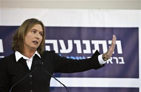 Former centrist Israeli Foreign Minister Tzipi Livni gestures during a news conference in Tel Aviv November 27, 2012. Livni announced on Tuesday she would challenge Prime Minister Benjamin Netanyahu in a Jan. 22 election by running for office as head of a new political party she vowed would ''fight for peace.'' REUTERS/Nir Elias