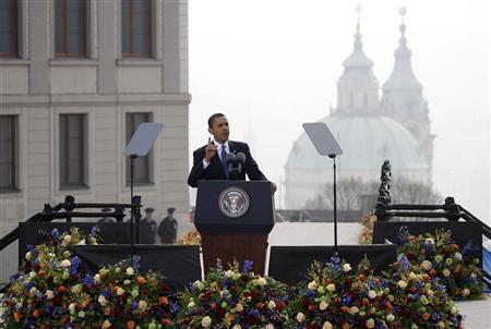 U.S. President Barack Obama speaks during a public address at Hradcanske Square in central Prague April 5, 2009. REUTERS/Petr Josek