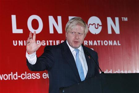 London Mayor Boris Johnson speaks at the higher education reception as part of London universities international partnership higher education mission in New Delhi November 26, 2012. REUTERS/Adnan Abidi