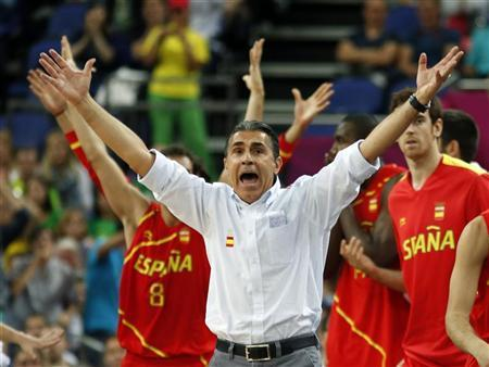 Spain's head coach Sergio Scariolo reacts during game against France at their men's quarterfinal basketball match at the North Greenwich Arena in London during the London 2012 Olympic Games August 8, 2012. REUTERS/Mike Segar
