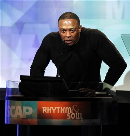 Record producer Dr. Dre speaks at the 24th annual ASCAP (American Society of Composers, Authors and Publishers) Rhythm and Soul Music Awards in Beverly Hills, California June 24, 2011. REUTERS/Mario Anzuoni