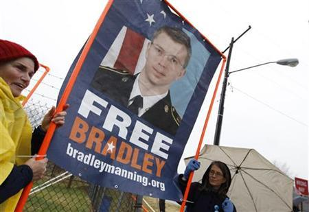 Supporters of U.S. Army Pfc. Bradley Manning protest during Manning's scheduled motion hearing, outside the gates of Fort Meade, Maryland November 27, 2012. REUTERS/Jose Luis Magana