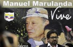 <p>Foto de archivo del líder negociador de las FARC, Iván Márquez, durante una conferencia de prensa en La Habana. 29 de noviembre, 2012. REUTERS/Enrique De La Osa. El Gobierno colombiano y la guerrilla de las FARC concluyeron el jueves la primera ronda de conversaciones de paz en Cuba, sin que todavía hayan logrado algún acuerdo concreto en el cuarto intento oficial por poner fin a medio siglo de conflicto interno en la nación sudamericana.</p>