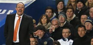 """<p>Le nouveau manager de Chelsea, Rafael Benitez a décidé de faire tourner l'effectif. """"Nous avons 11 ou 12 joueurs qui disputent presque tous les matches et les autres qui n'ont quasiment pas de temps de jeu. On va essayer de régler ça"""", a-t-il déclaré. /Photo prise le 28 novembre 2012/REUTERS/Eddie Keogh</p>"""