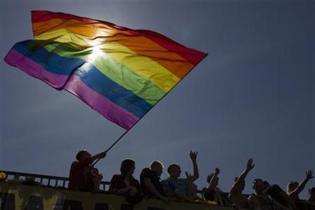 A reveller waves the rainbow flag during the Christopher Street Day parade in Berlin, June 23, 2012. The annual street parade parade is a celebration of lesbian, gay, bisexual, and transgender lifestyles and denounces discrimination and exclusion. REUTERS/Thomas Peter (GERMANY - Tags: SOCIETY)