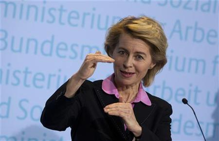 German Labour Minister Ursula von der Leyen speaks during a news conference about the latest unemployment figures, at the labour ministry in Berlin January 3, 2012. REUTERS/Thomas Peter