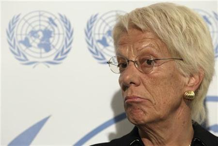 Member of the Commission of Inquiry on Syria Carla del Ponte pauses during a news conference at the United Nations in Geneva October 25, 2012. REUTERS/Denis Balibouse