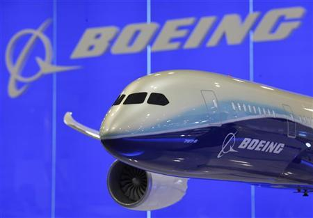 A model of Boeing 787-8 passenger plane is displayed inside its booth at the Asian Aerospace Show in Hong Kong March 8, 2011. REUTERS/Bobby Yip