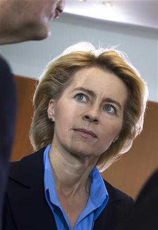 Germany's Labour Minister Ursula von der Leyen attends a cabinet meeting at the Chancellery in Berlin, July 4, 2012. REUTERS/Thomas Peter