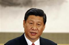 Newly-elected General Secretary of the Central Committee of the Communist Party of China (CPC) Xi Jinping speaks as he meets with the press at the Great Hall of the People in Beijing, November 15, 2012. REUTERS/Carlos Barria