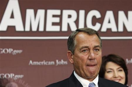 U.S. House Speaker John Boehner (R-OH) pauses during a news conference on the fiscal cliff, after a closed GOP meeting at Capitol Hill in Washington, December 5, 2012. REUTERS/Yuri Gripas
