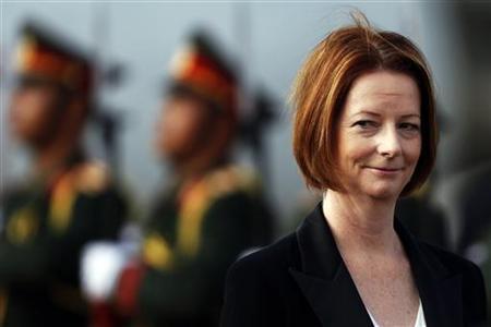 Australia's Prime Minister Julia Gillard arrives at Vientiane airport November 4, 2012. REUTERS/Damir Sagolj/Files